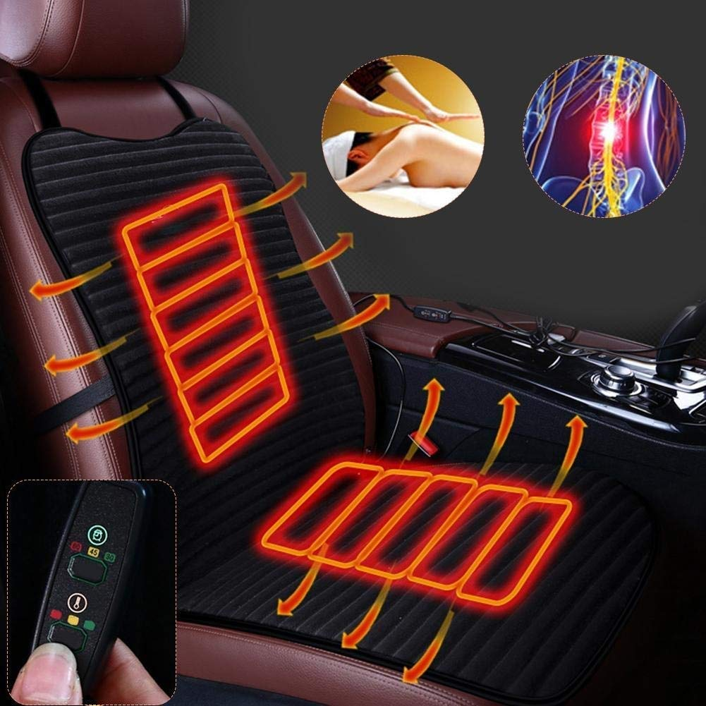 KJRJQC 12V Heated Car Seat Cushion Premium Quality Adjustable Temperature Heating Pad - New Upgraded Version, Safer Nonflammable UL Wiring by KJRJQC