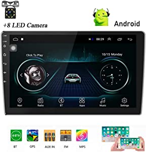 Podofo Android Double Din GPS Car Stereo Radio 10.1'' HD 1080P 2.5D Tempered Glass Mirror Car MP5 Player with Bluetooth WiFi GPS FM Radio Receiver with Rear Camera
