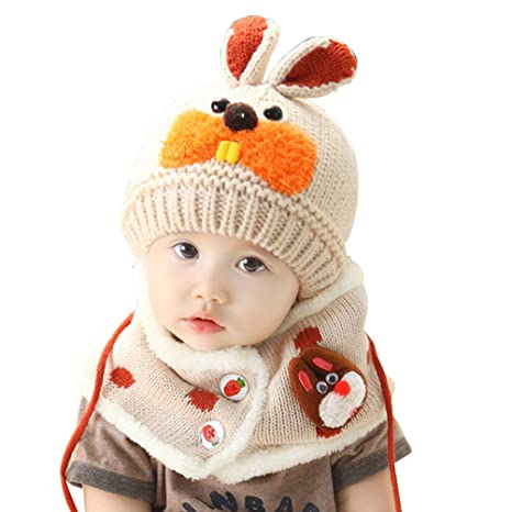 Amazon.com: Meiyuan 2pcs/set Baby Boys Girls Winter Knitted Wool Cute Beanie Scarf Set: Clothing