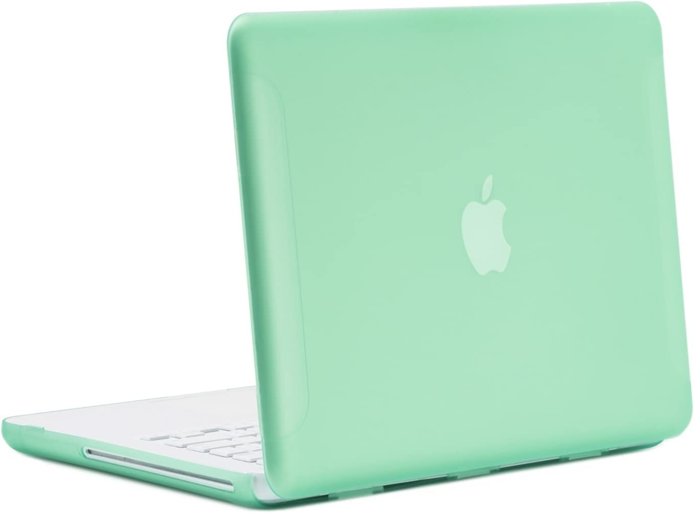 """TopCase Rubberized Green Hard Case Cover for Macbook White 13"""" (A1342/Latest) with TopCase Mouse Pad (case NOT for 1st gen A1181 with mouse clicker)"""