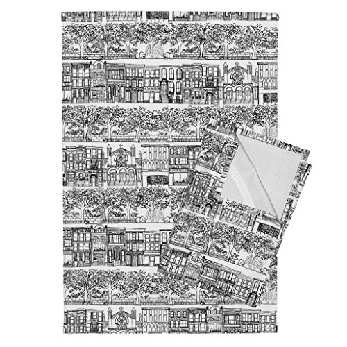 Roostery New York City Cityscape Neighborhood New York City NYC Tea Towels Upper West Side -NYC Small by Emilysanford Set of 2 Linen Cotton Tea - Side Towel West