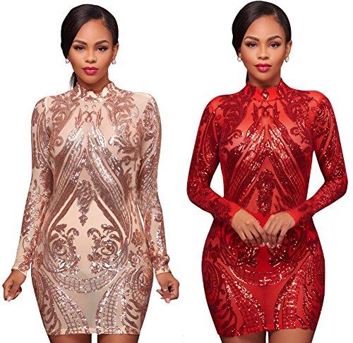 Les Femmes Sexy Blansdi Moulante Mock Paillettes Cou Sequin Partie Mini-robe Rouge Clubwear