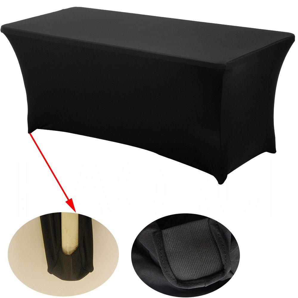 Haorui Rectangular Spandex Table Cover (6 ft. Black) by Haorui (Image #2)
