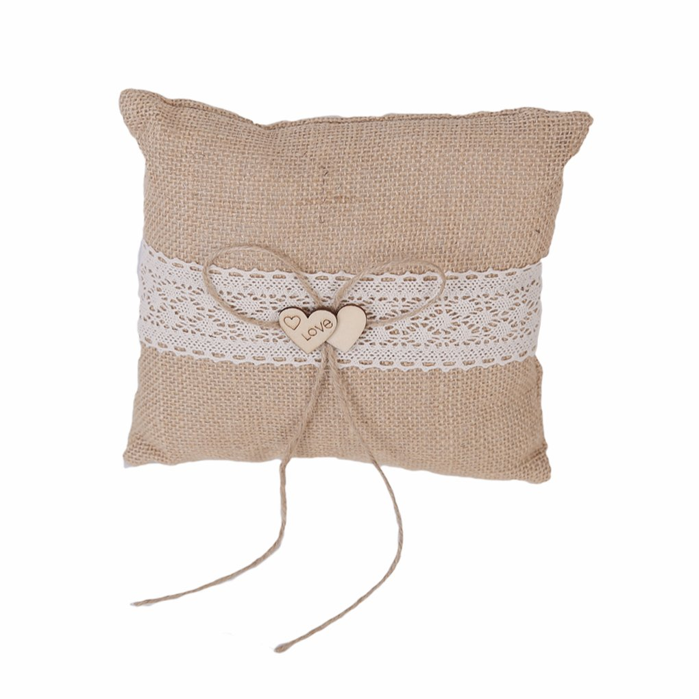Bueer Linen Pearl Embroided Lace Satin Flower Wedding Ring Bearer Pillow 7.8 Inch x 7.8 Inch (J5-Love Decor)