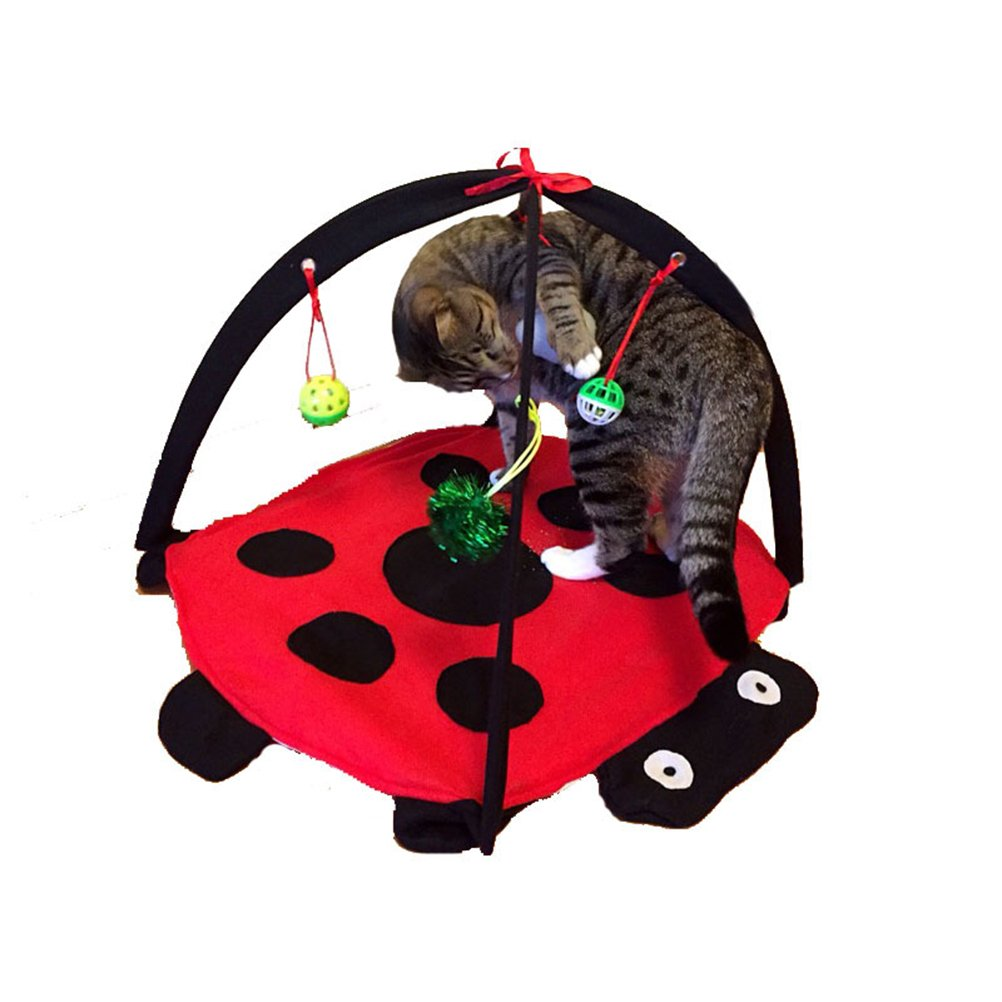 UEETEK Multi-function Cat Play Mat Activity Pet Kitten Padded Bed Foldable Pet Kitten Padded Bed with Hanging Toys Balls and Mice (Red)