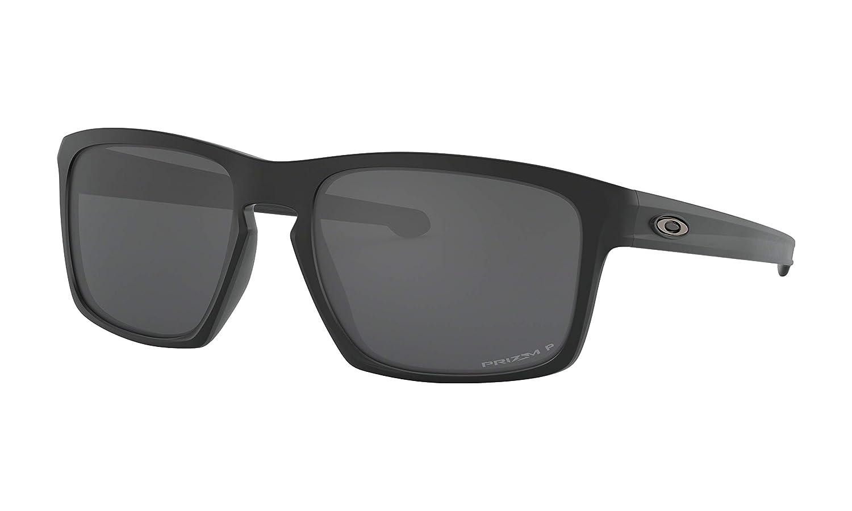Oakley シルバーサングラス マットブラック プリズムブラック偏光レンズ付き