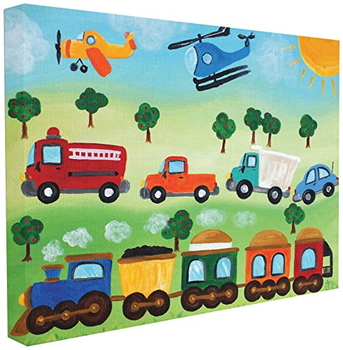 Stupell Industries The Kids Room by Stupell Planes, Trains, and Automobiles Canvas Wall Art, 24 x 30, Design by Artist nJoyArt