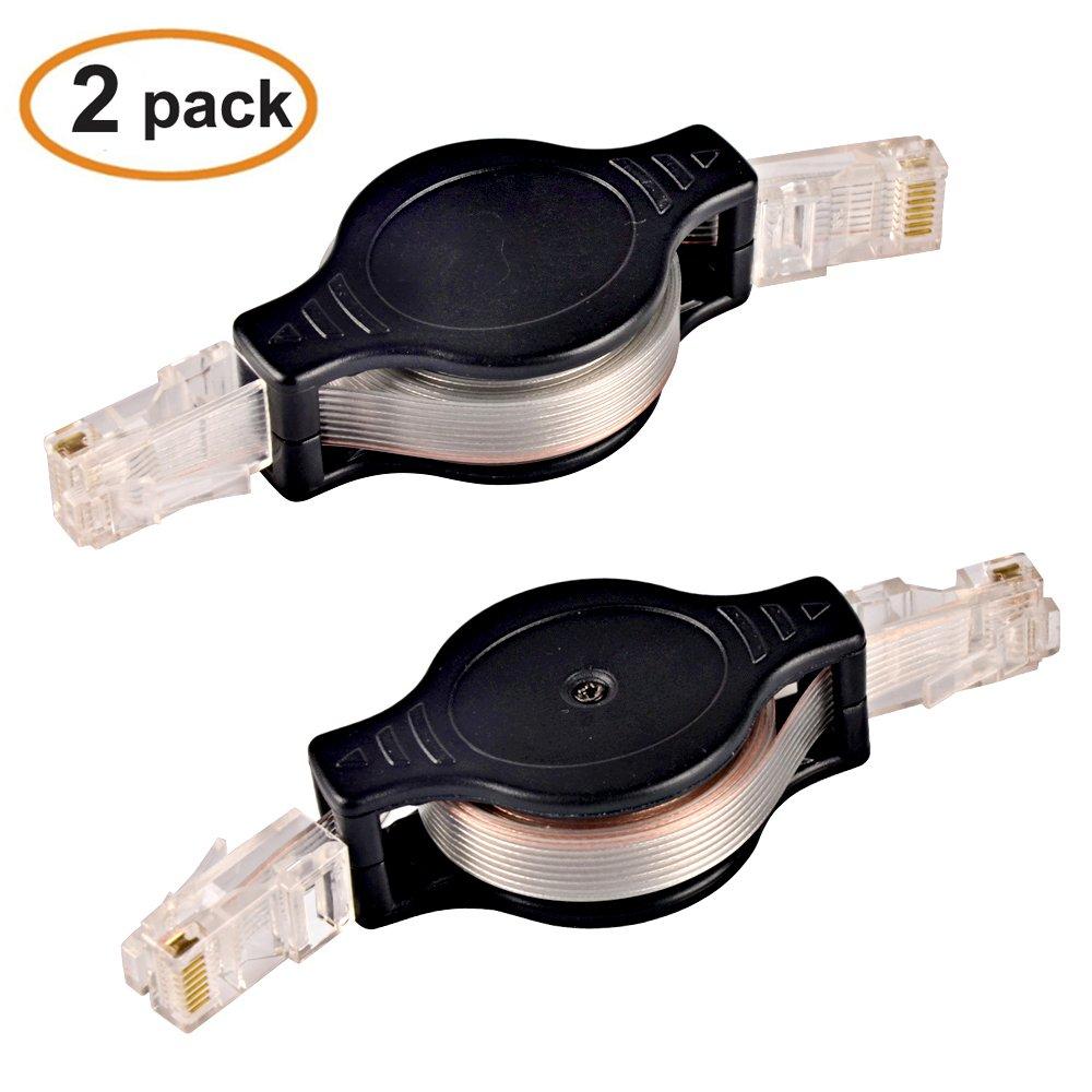 SHiZAK 2-Pack 1.5M Retractable Ethernet Cat5 RJ45 LAN Flexible Network Cable