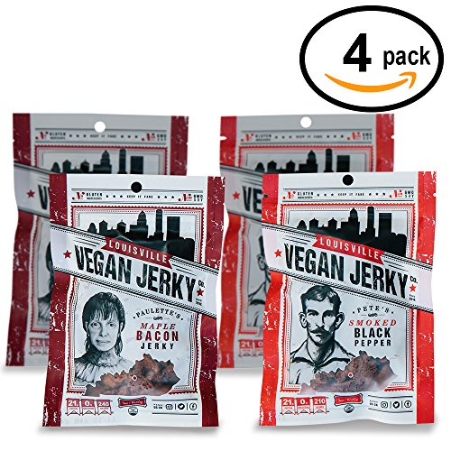 Louisville Vegan Jerky - Smoked Black Pepper & Maple Bacon 4-Pack, Vegetarian & Vegan Friendly Jerky Non-GMO Soy Protein, Gluten-Free Ingredients (4-Pack, 3 oz)