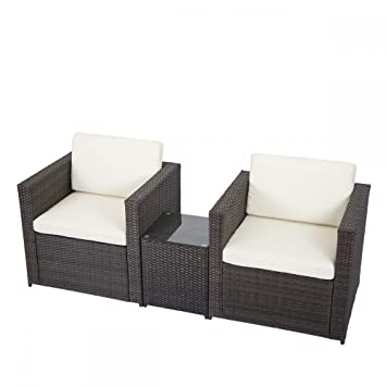 Amazon 3 PCS Outdoor Patio Sofa Set Sectional Furniture PE