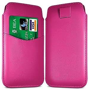 N4U Online - LG Nexus 4 Ranura E960 Tarjeta Premium Funda de ficha de extracción caso del tirón del cuero de la PU - Rosa