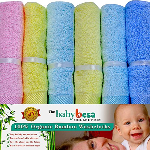 Baby Washcloths | 6 Extra Soft Large Organic Bamboo Baby Shower Ideas (Assorted) by The Baby Besa Collection