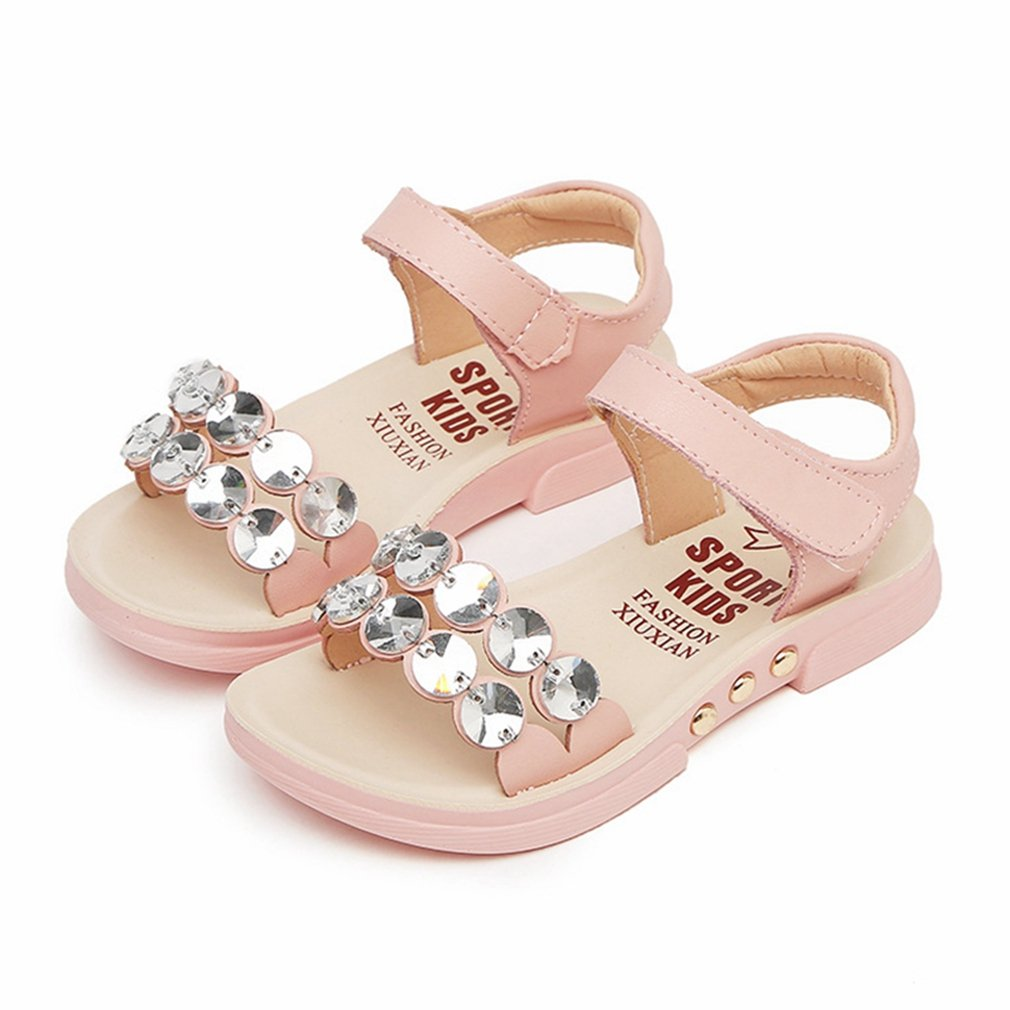 CYBLING Girls Summer Sandals Shiny Crystal Open Toe Casual Flat Shoes (Toddler/Little Kid/Big Kid)