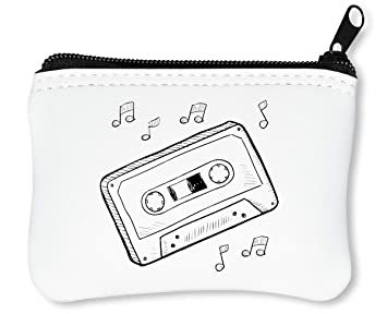 Hipster Cassette Tape Notes Black Graphic Billetera con ...