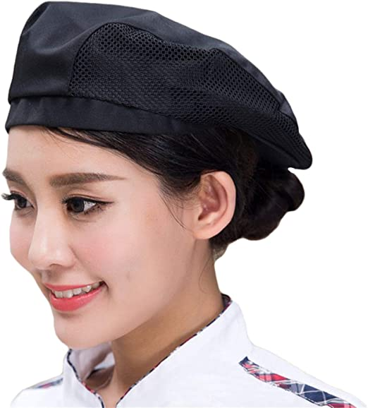 Adult Chef Beret Hat Cotton Mesh Cooker Cap Waiter Baker Catering Head Wrap