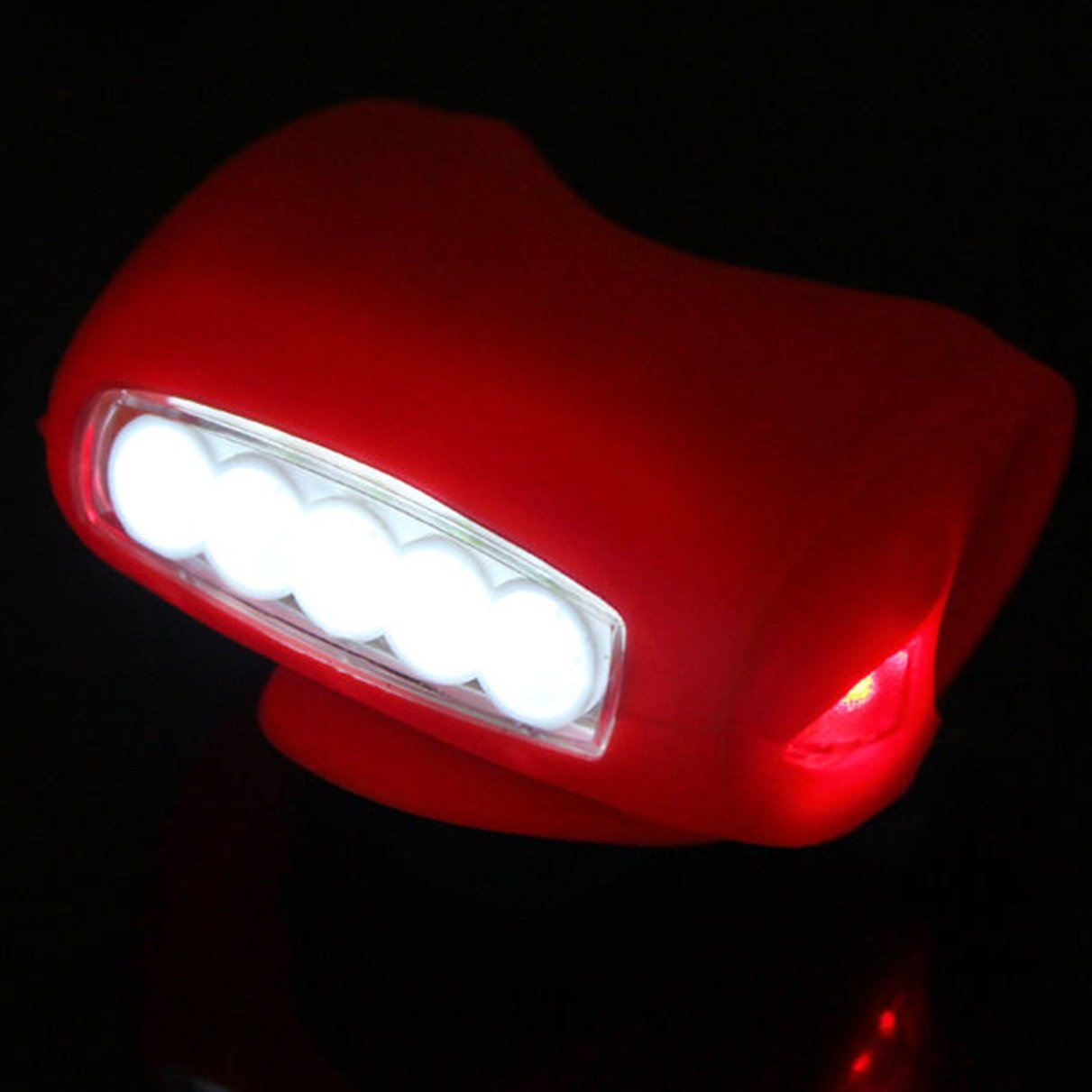 1 Pc Credible Unique 3 Mode 7x LED Flashlight Silicone Bike Lights Night Light Bicycle Cycling Head Front Rear Safety Headlight Coast Bright Waterproof Camping Holder LEDs Flashlights Torch Color Red
