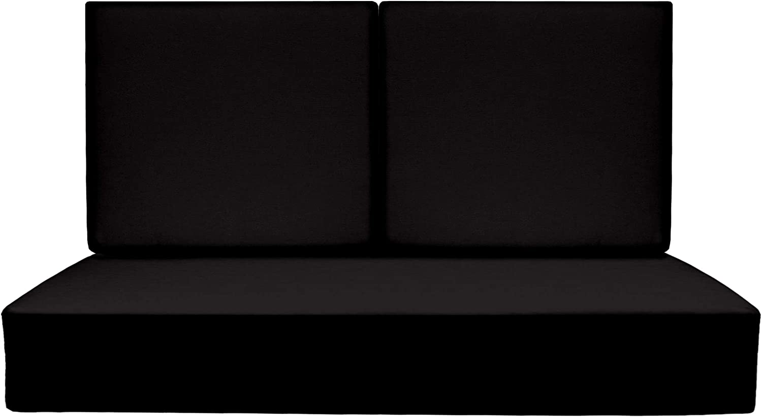 """RSH Décor Indoor Outdoor Foam Deep Seating Loveseat Cushion Set, 46"""" x 26"""" x 5"""" Seat and 23"""" x 21"""" x 3"""" Back, Choose Color (Black)"""