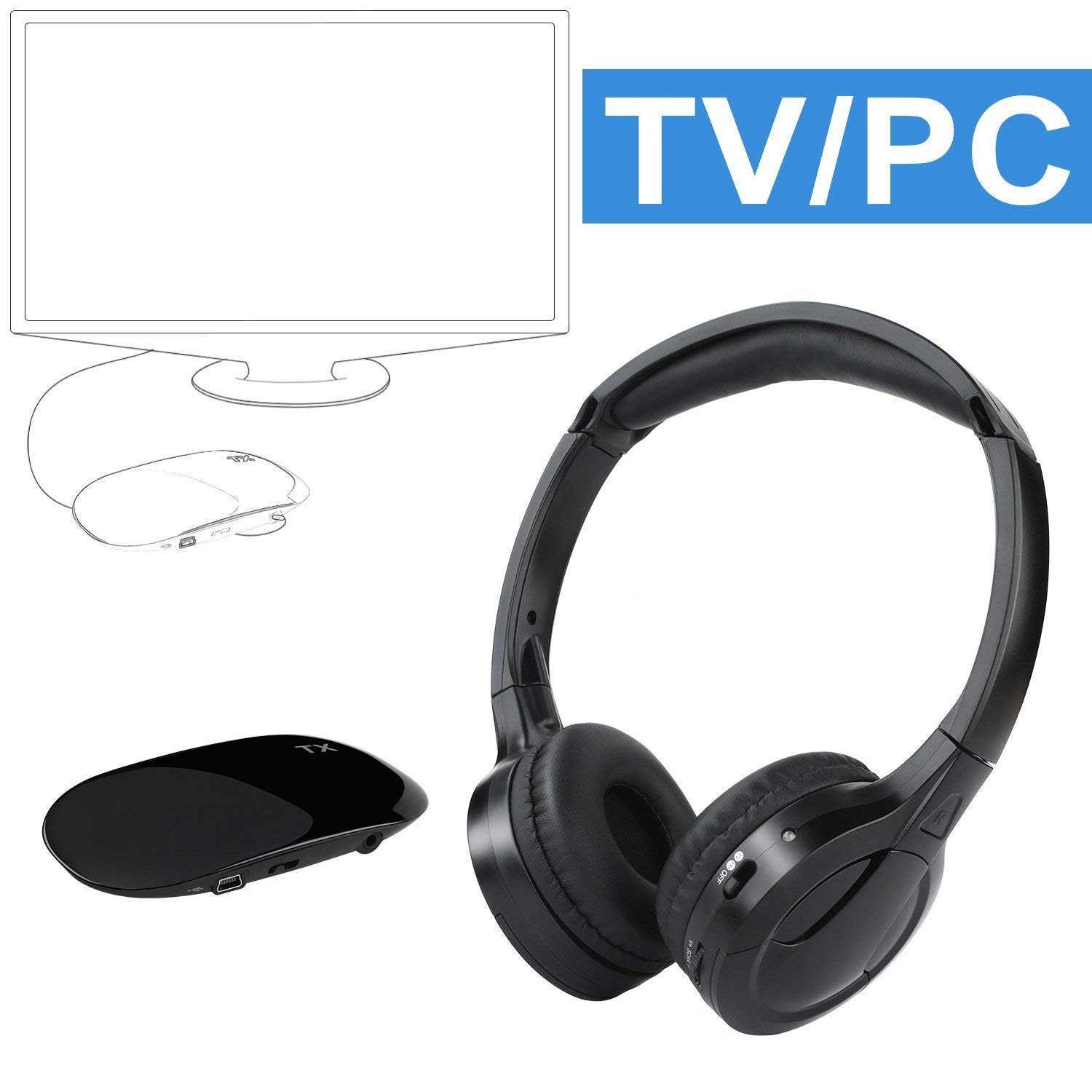 Wireless Headphones for TV, Jelly Comb TV Wireless Headphones with 3.5mm Audio-Out Jack and RCA Audio-Out for TV, Cell Phone, Laptop, Upgraded Auto Scan and Auto Sleep (Black)