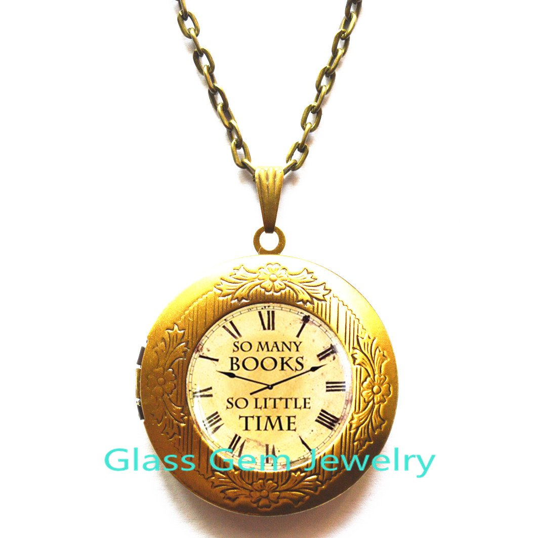 Book jewelry So Many Books So Little Time Locket Pendant Book quote Locket Necklace Zappa Quote Locket Necklace,Q0115 Quote Locket Pendant So Many Books Locket Necklace