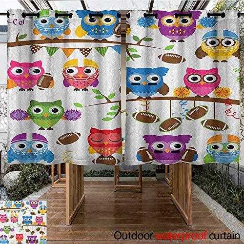 AndyTours Outdoor Grommet Top Curtain Panel,Owls,Sporty Owls Cheerleader League Team Coach Football Themed Animals Cartoon Art Style,Waterproof Patio Door Panel,K160C183 Multicolor
