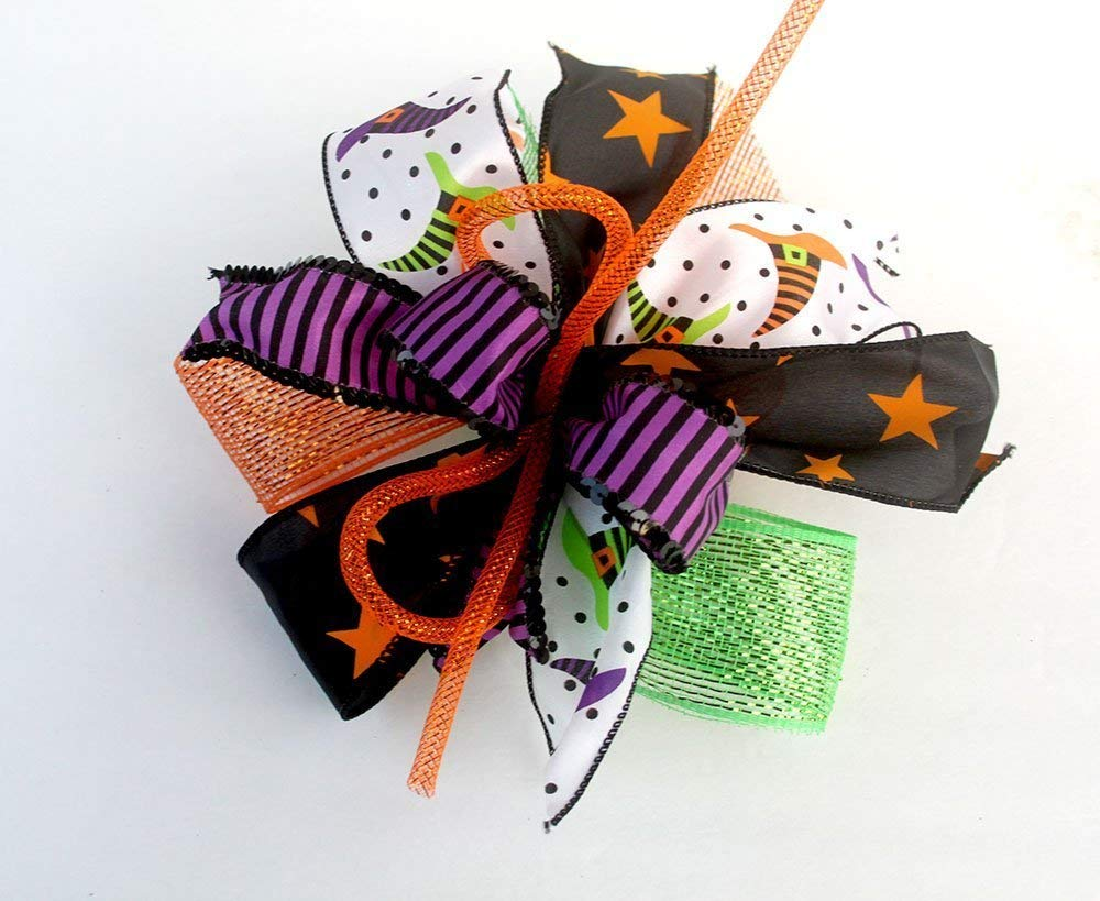 Whimsical Halloween witch hat bow for wreaths, mantle bow, lantern bows, holiday bows, ribbons, wedding bows, holiday decor, green purple