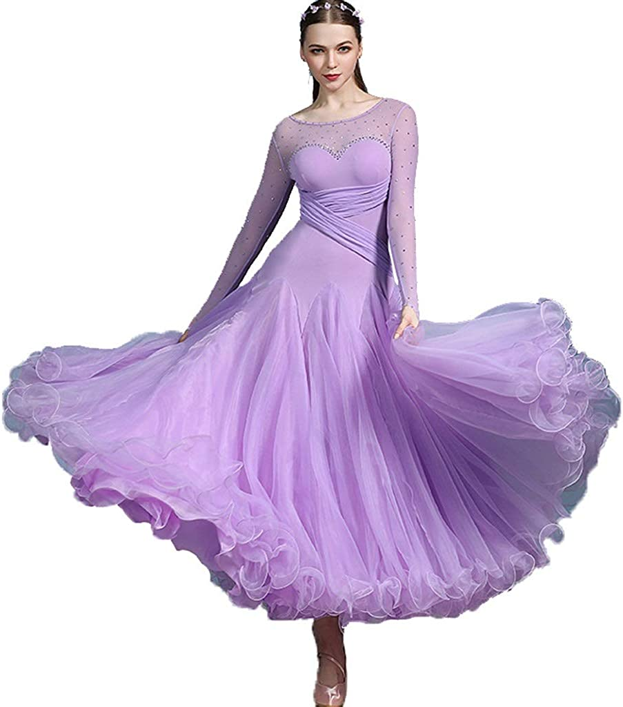 長袖 プロ 国家標準ダンス ワルツ パフォーマンスドレス モダンタンゴサルサ 優雅 ダンスウェア パープル S