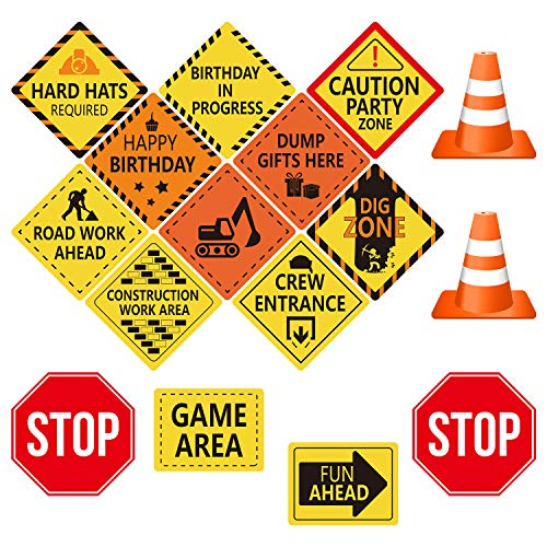TUPARKA 16pcs Construction Themed Party Decorations Double Sided Cutouts Traffic Signs for Boys Kids Birthday Party and Bedroom Decorations]()