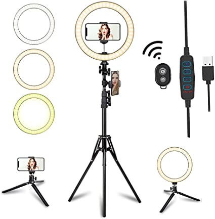 Todays Deals 8 Ring Light with Tripod Stand Dimmable Selfie Ring Light LED Camera Ringlight with Tripod and Phone Holder for Live Stream Makeup YouTube Video Compatible for iPhone Android