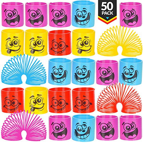 Mega Pack Of 50 Coil Springs - Assorted Emoji Silly Faces And Colors, Mini Spring Toy For Party Favor, Carnival Prize, Gift Bag ()