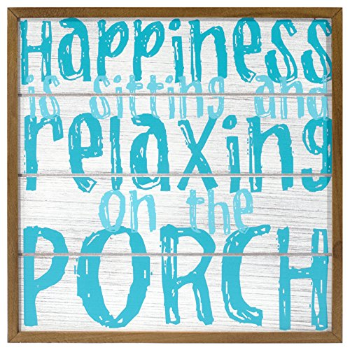 Malden International Designs Casual Living Décor Happiness Is Sitting and Relaxing on the Porch Distressed Wall Sign, 12x12, (Porch Signs)