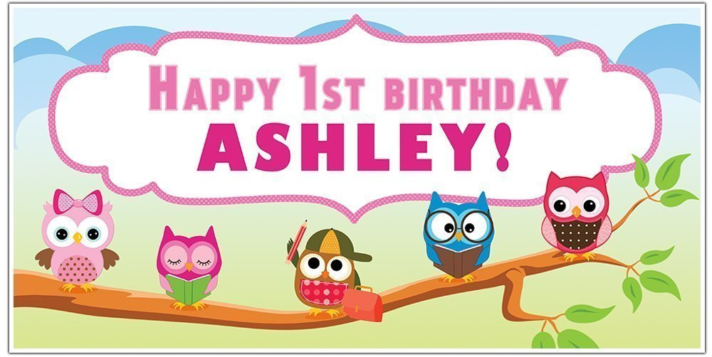 Owls Hoot Birthday Banner Personalized Party Backdrop Decoration