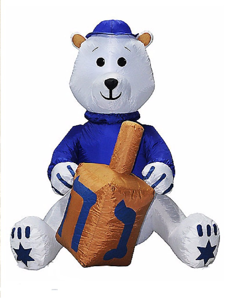 Hanukkah Inflatable Bear W/ Yamaka Holding Dreidel