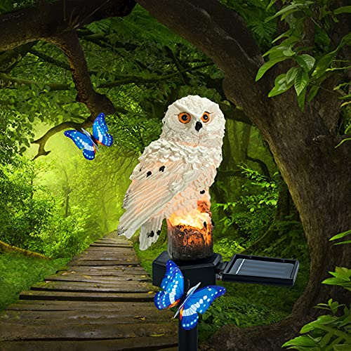 Solar Lights Outdoor Garden Ornaments Animals Resin owl Solar led Lights Outdoor Garden Stake Waterproof Lighting for Flower Fence, Lawn, Patio, Walkway, Summer Party, Christmas,Holiday Gifts