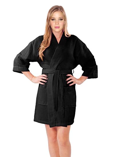0b736ce4a44 Amazon.com  TowelSoft Waffle Short Kimono Robe One Size Black  Home ...