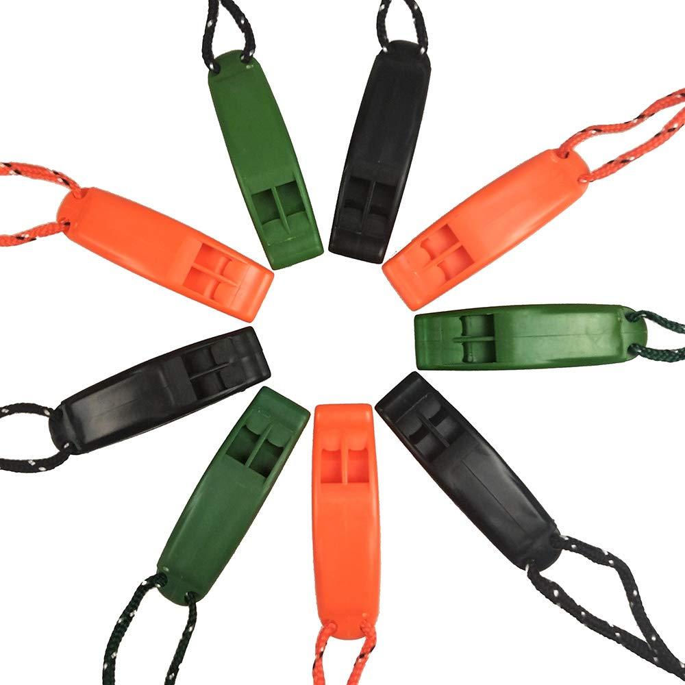 Supervivencia Silbato de Seguridad de Emergencia con cord/ón para navegaci/ón Camping Caza Senderismo Rescate se/ñalizaci/ón Gocrown 9 Piezas