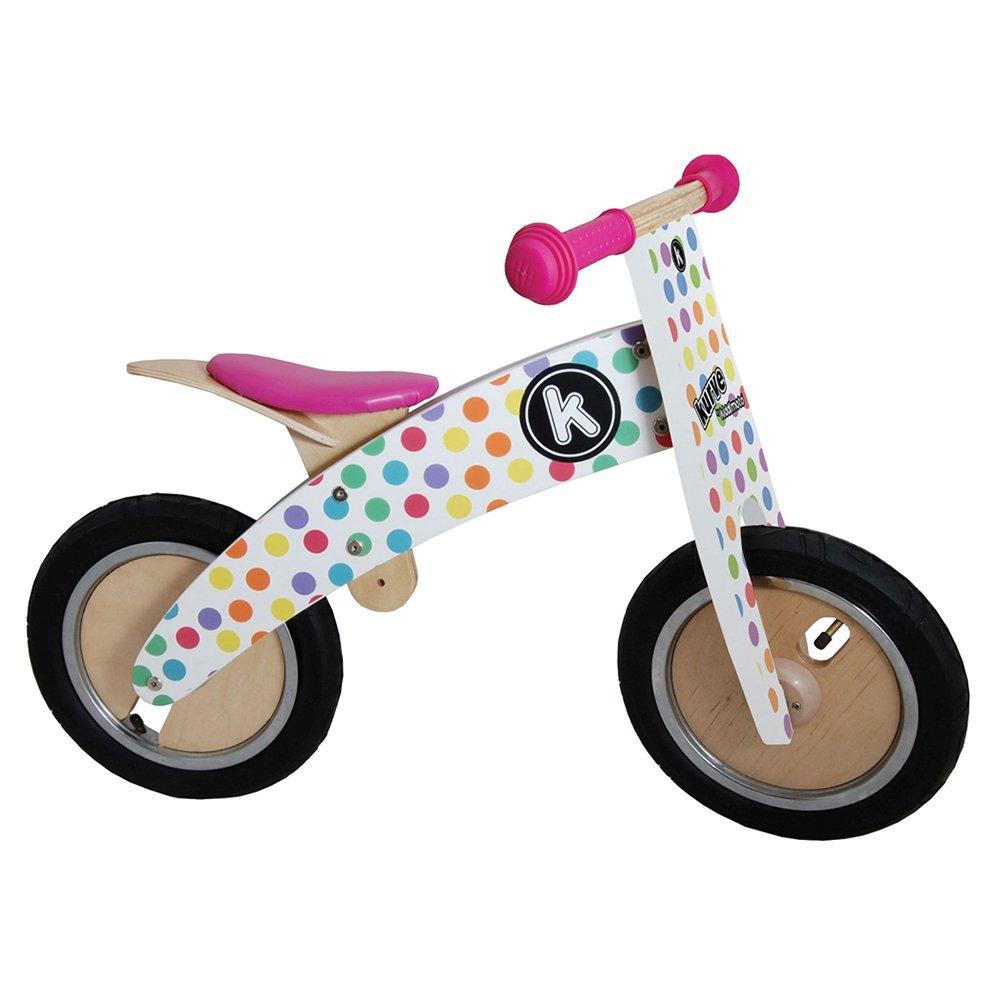 Kiddimoto Kids Kurve Wooden Balance Bike - Pastel Dotty