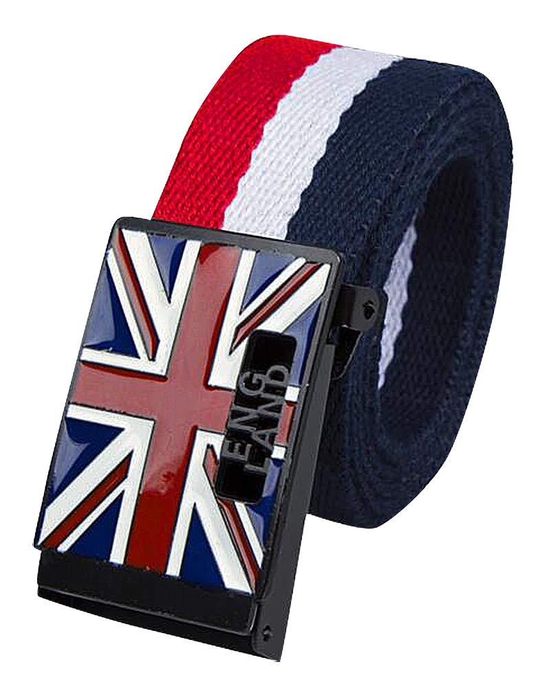 Celino Unisex Red White Blue 1.5'' Wide England Flag Slide Buckle Canvas Belt, MZ 51''