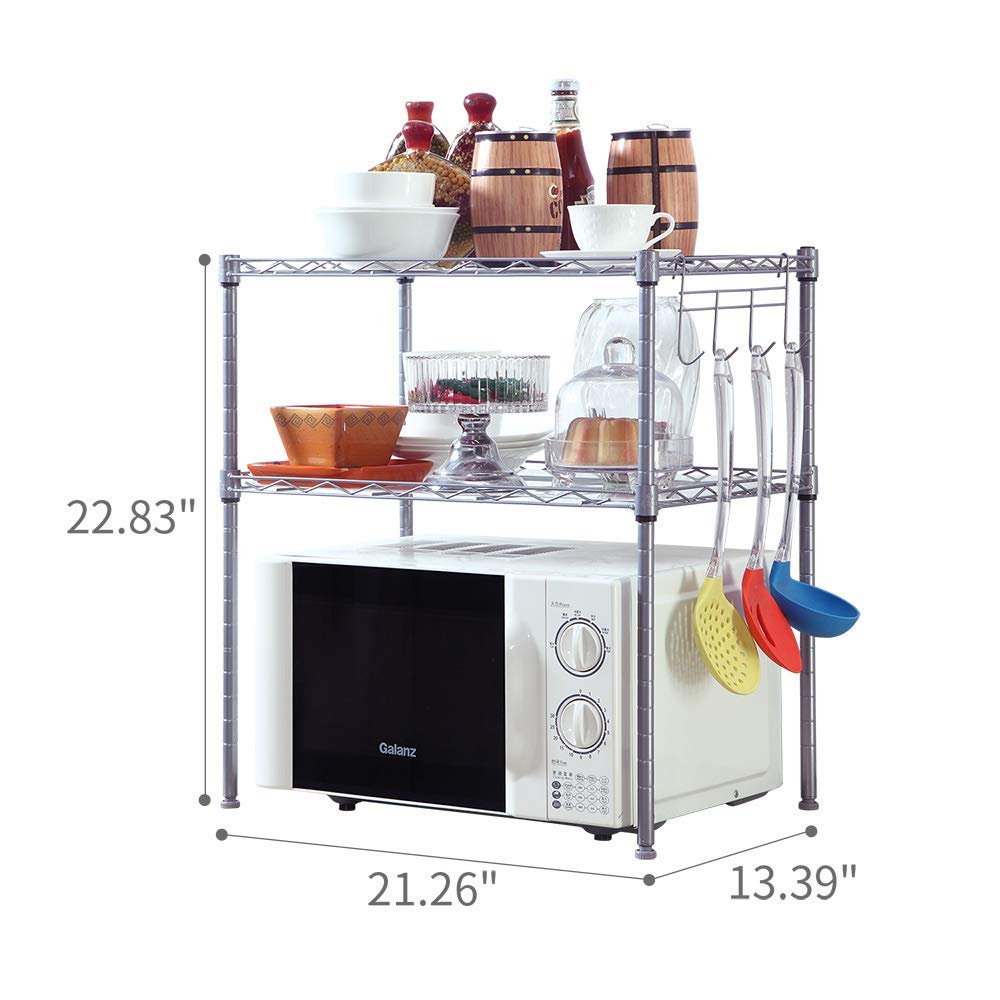 SINGAYE 2 Tier Adjustable Oven Microwave Rack Baker's Rack Kitchen Storage Rack Kitchen Shelving Unit with 2 Shelf Liners by SINGAYE