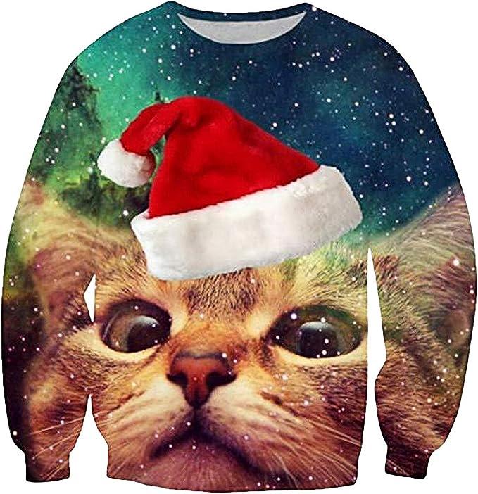 Loveternal Mens Womens Ugly Christmas Sweater Crewneck Sweatshirt Casual Pullover