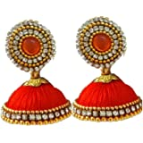 Vani Orange Silk Thread Dangle & Drop Earrings for Women(VA5)