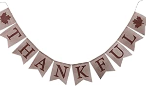 Macoku Thankful Burlap Banner Party Decorations, Thanksgiving Day Theme Party Holiday Rustic Vintage Retro Look, Fireplace Mantel Decoration, Fall Home Office Accessories, Outdoor