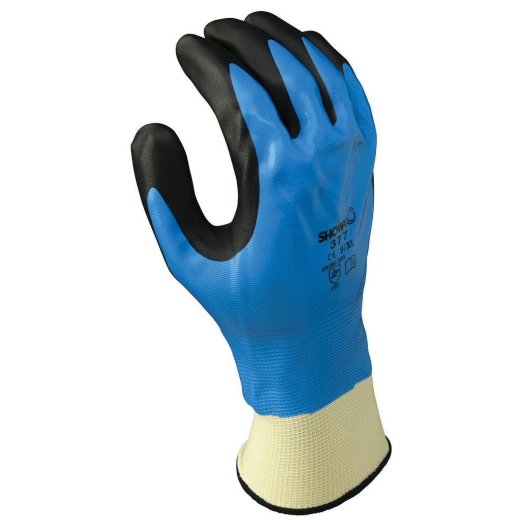 SHOWA 377 Nitrile Foam Coating on Nitrile Glove with Polyester/Nylon Knit Liner, Small (Pack of 12 Pairs) Showa Best Glove Inc 377S-06