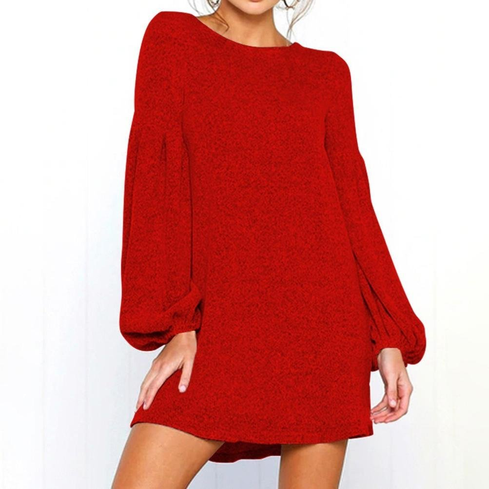 Big Teresamoon Women Camisole Long Sleeve O-Neck Loose Pleated Mini Dress Fashion Dress at Amazon Womens Clothing store: