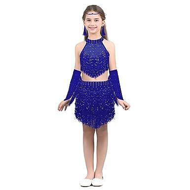 Alvivi 5PCs Conjunto Traje de Danza Latino para Niña Lentejuelas Vestido Borla de Baile Latín Tango Rumba Samba Salsa Salón de Baile Tops Falda Flecos ...