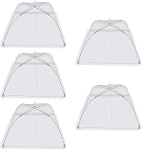 Maxway (5 Pack) Pop-Up Foldable Mesh Screen Umbrella Shaped Food Cover Tents for Indoor and Outdoor, 17in x 17in x 8in (White)