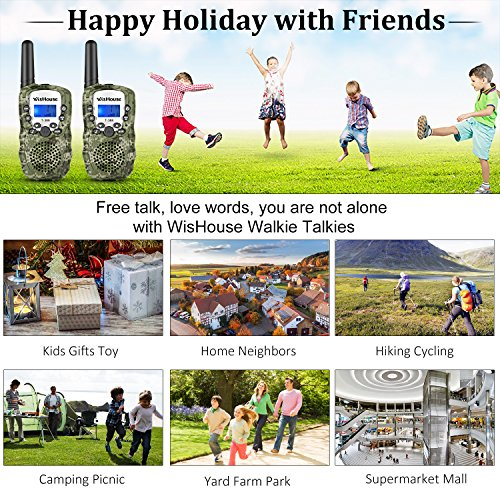 WisHouse Walkie Talkies for Kids,Popular Toys for Boys and Girls Best Handheld Woki Toki with Flashlight,License Free Kids Survival Gear for Hunting and Outdoor Adventure(T388 Camouflage 4 Pack) by Wishouse (Image #1)