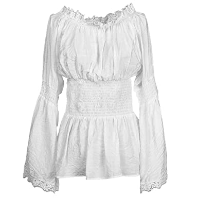 eedce6c5fe1eb2 White Lace Cotton Women's Peasant Shirt Blouse Retro Vintage Design Semi  Sheer Medium