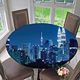 Mikihome Premium Tablecloth Kuala Lumpur Skyline at Night KLCC Twin Towers Everyday Use 31.5''-35.5'' Round (Elastic Edge)