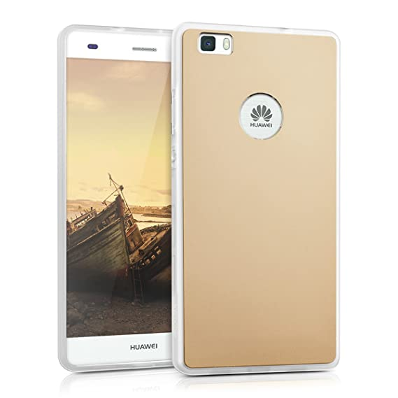 kwmobile Hardcase Protective Cover for Huawei P8 Lite (2015) with Aluminium backcover and TPU Silicone Frame Bumper - case Cover in Gold
