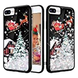 iPhone 7 Plus Case, Caka Glitter Case Christmas Bling Flowing Floating Luxury Liquid Sparkle Soft TPU Glitter Snowflake Black Case for iPhone 6 Plus 6S Plus 7 Plus 8 Plus (5.5 inch) (Silver)
